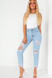 Renee Light Blue Distressed Boyfriend Jeans