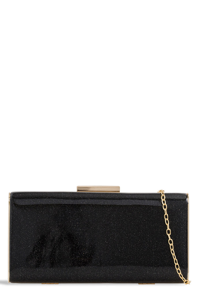 Ria Black Glitter Box Bag