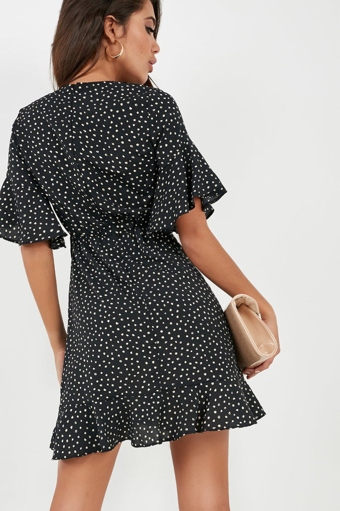 Ria Black Spotted Wrap Dress