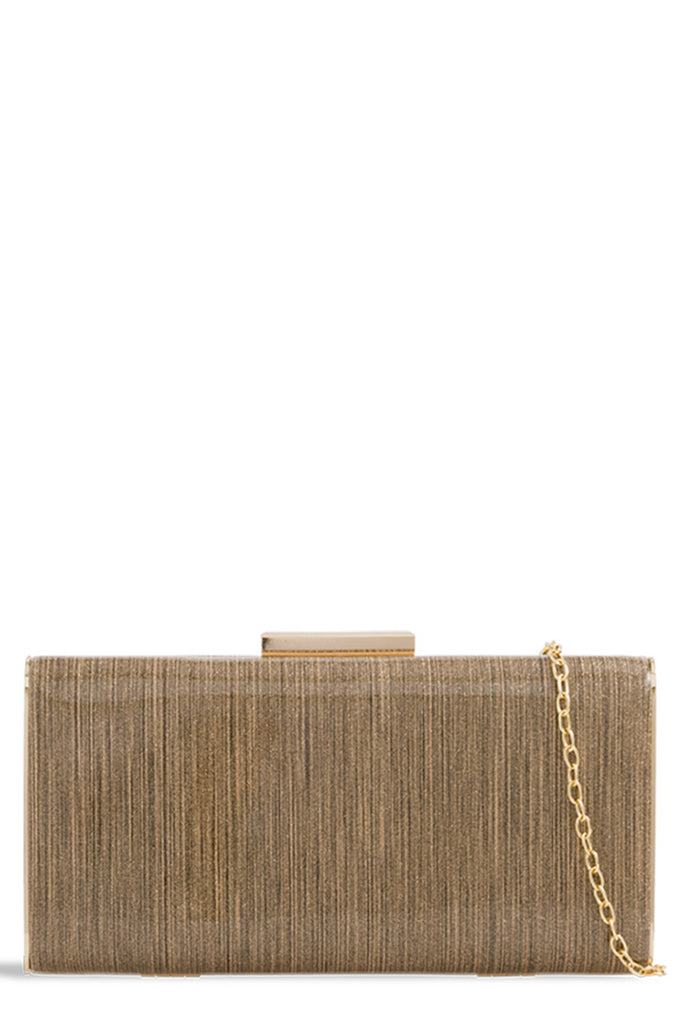 Ria Gold Glitter Box Bag