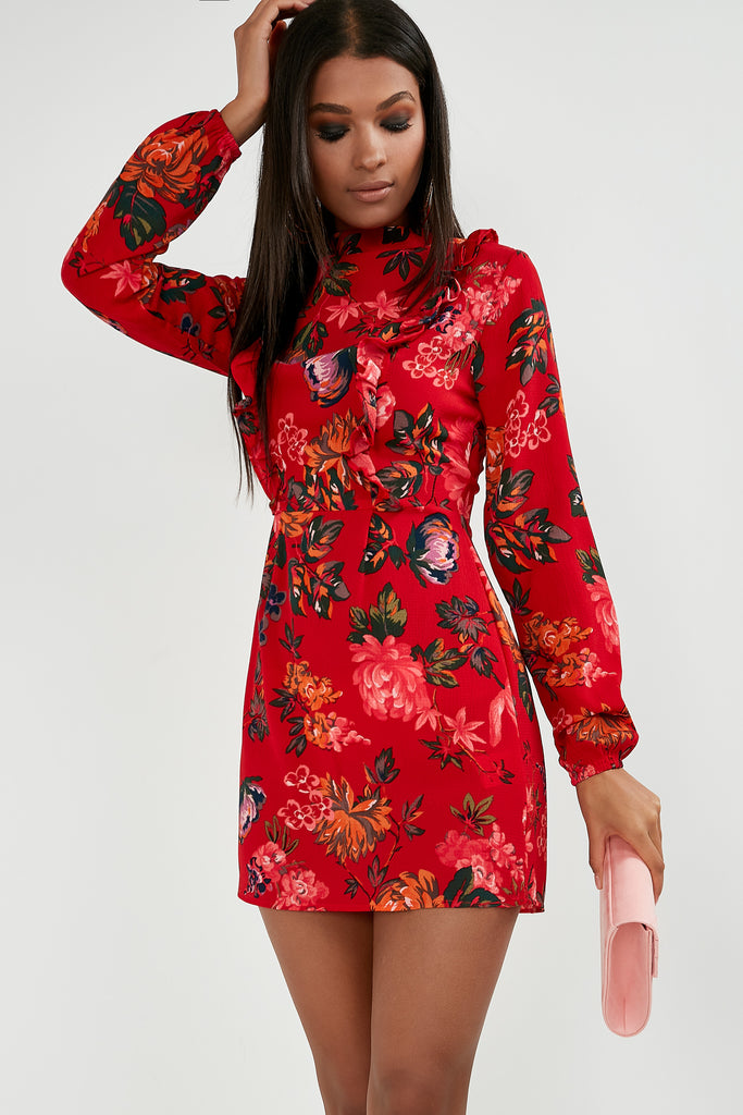 c01d2c0fd1 Ripley Red Floral Print High Neck Dress | Vavavoom.ie