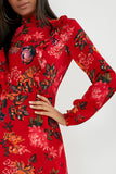 Ripley Red Floral Print High neck Dress