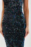 Riva Black Velvet Sequin Plunge Neck Dress (4299784126530)