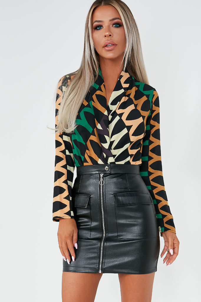 Rocha Green Aztec Print Wrap Top