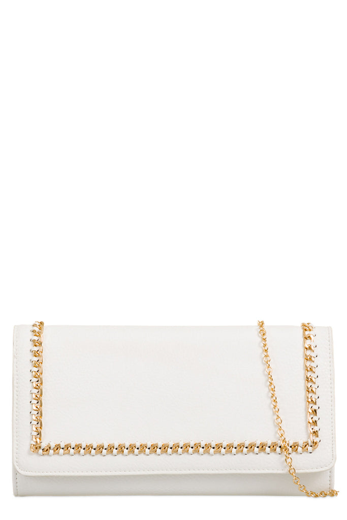 Rolla White Gold Chain Clutch Bag