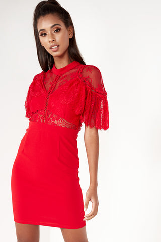 Ronnie Red Lace Cape Dress