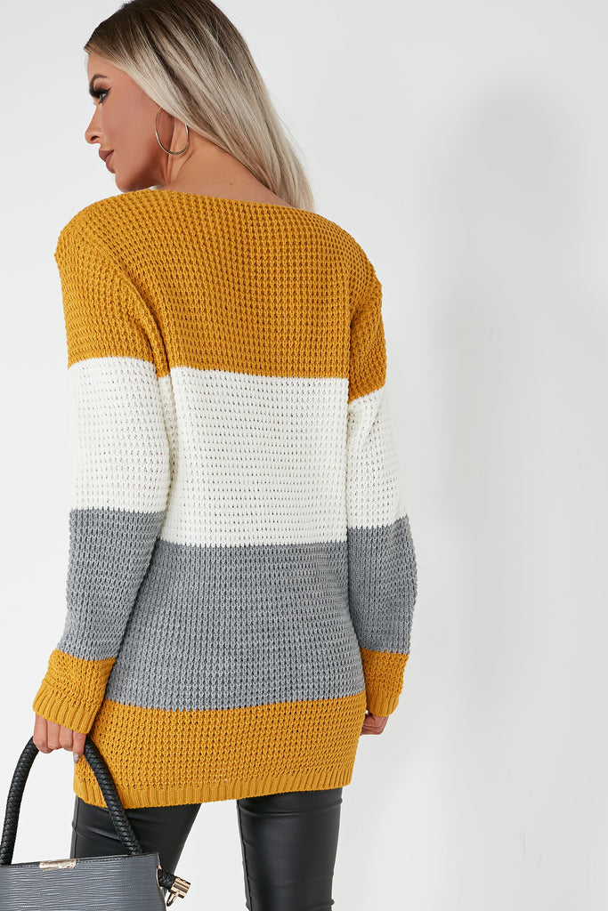 Rosaleen Mustard Colour Block Jumper