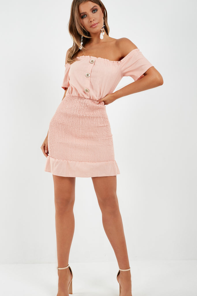 rosanne-pink-bardot-shirred-dress