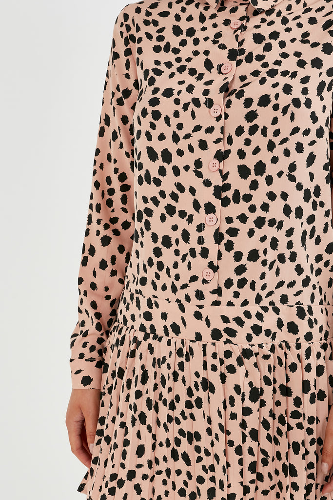 Rose Blush Animal Print Shirt Dress