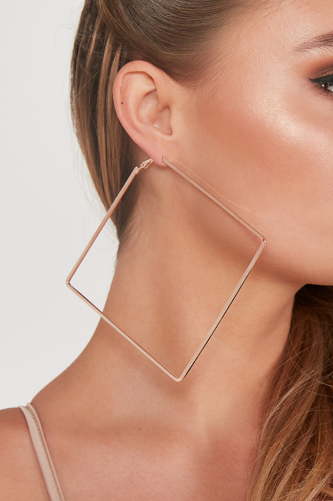 Rose Gold Large Square Hoop Earrings