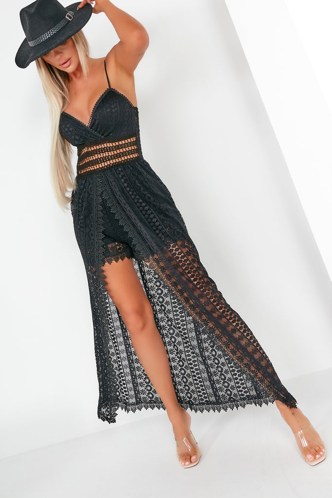 Rosette Black Lace Maxi Overlay Playsuit