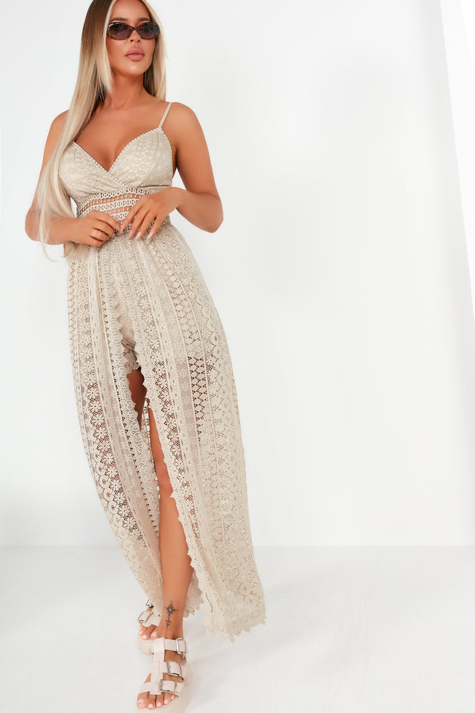 Rosette Stone Lace Maxi Overlay Playsuit