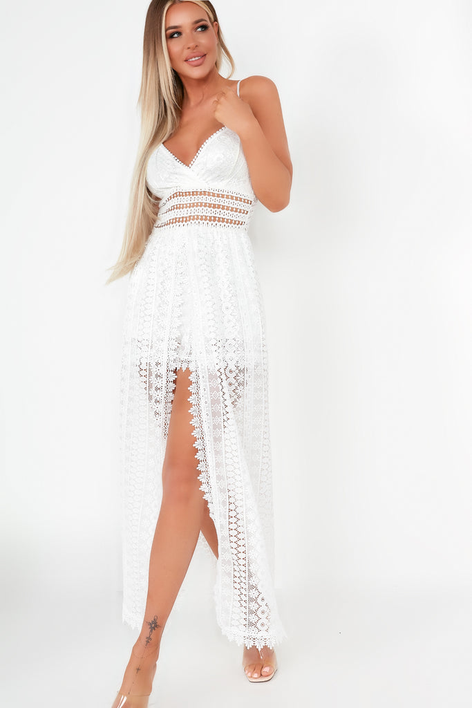 Rosette White Lace Maxi Overlay Playsuit