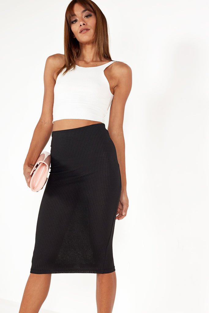 Rosey Black Rib Midi Pencil Skirt (1538990047298)