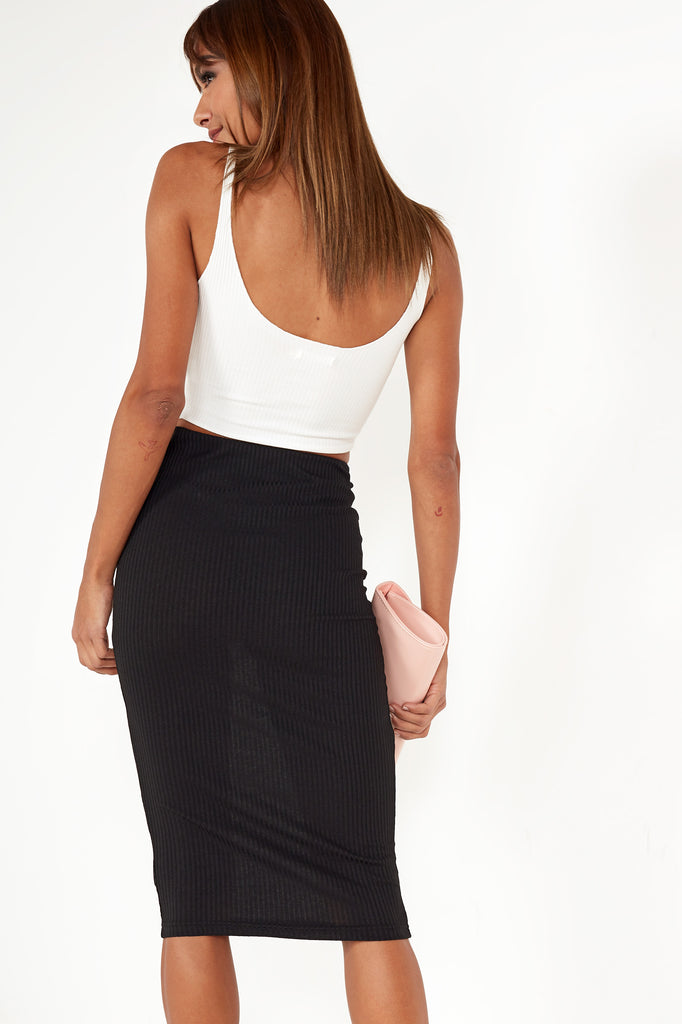 Rosey Black Rib Midi Pencil Skirt