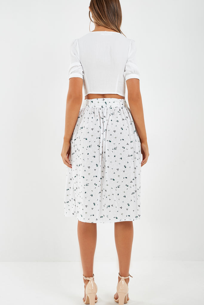 Rosie White Floral Button Midi Skirt