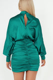 Rosy Green Long Sleeve Ruched Dress