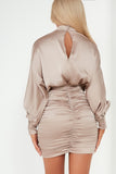 Rosy Taupe Long Sleeve Ruched Dress
