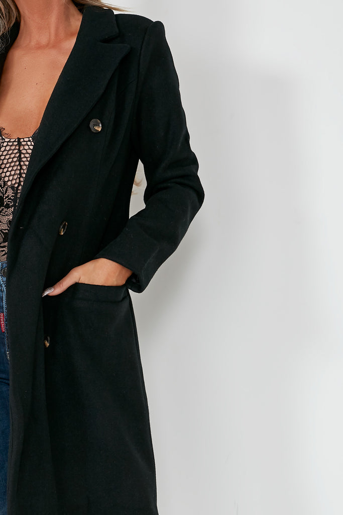 Roxanne Black Double Breasted Coat
