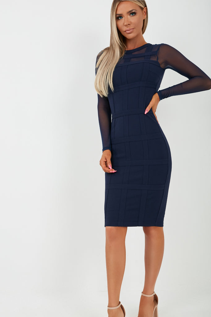 Roz Navy Mesh Panelled Midi Dress (2027900764226)