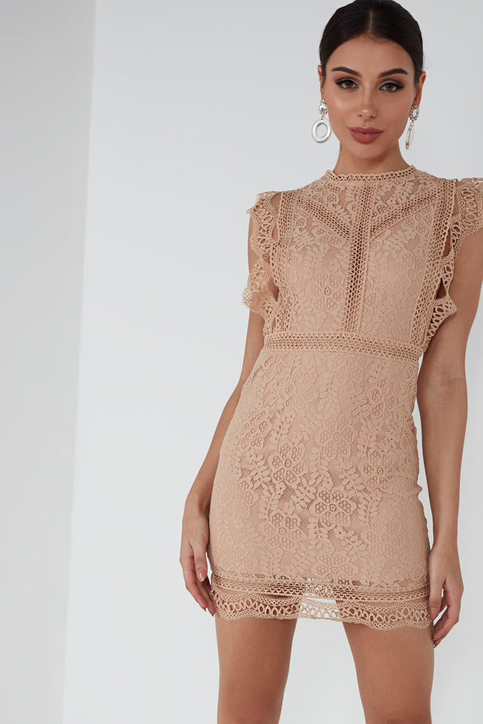Rue Beige Crochet Dress (1655120592962)