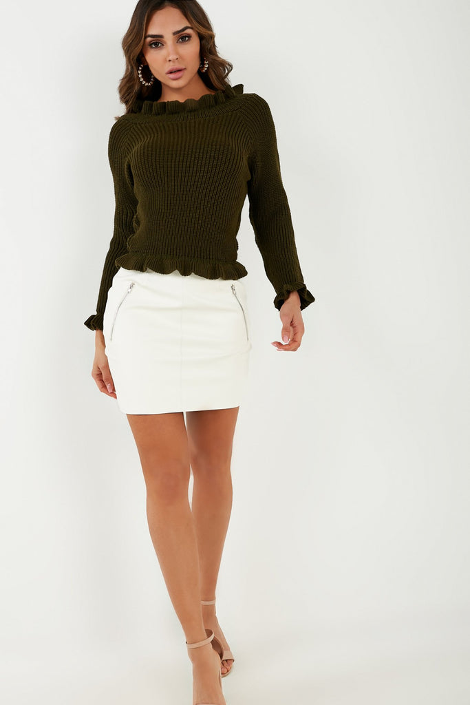 Rullie Khaki Ruffle Neck Knit Jumper