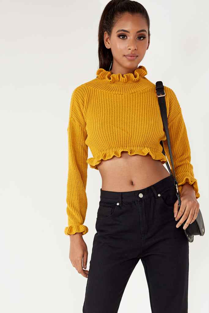 Rullie Mustard Ruffle Neck Crop Knit Jumper (1607902298178)