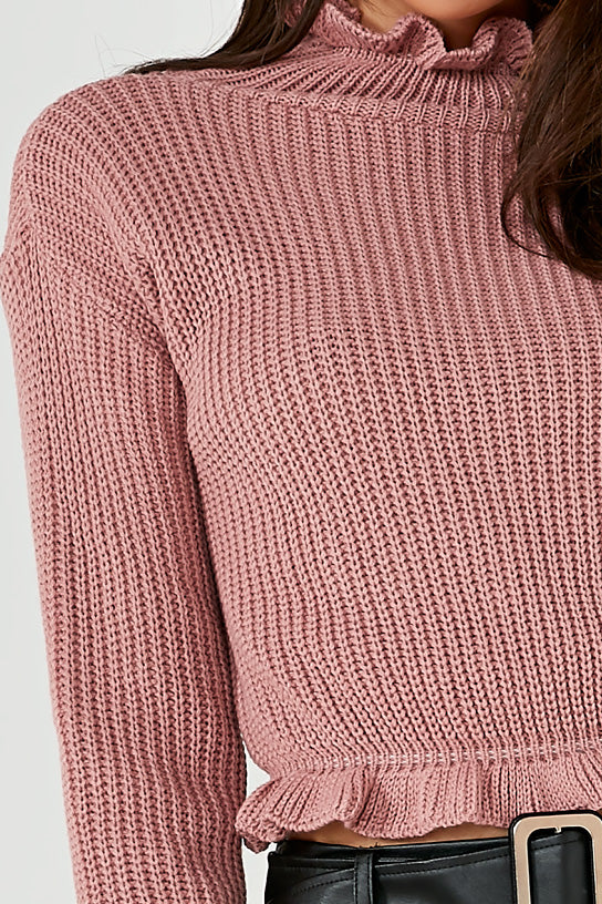 Rullie Pink Ruffle Neck Crop Knit Jumper