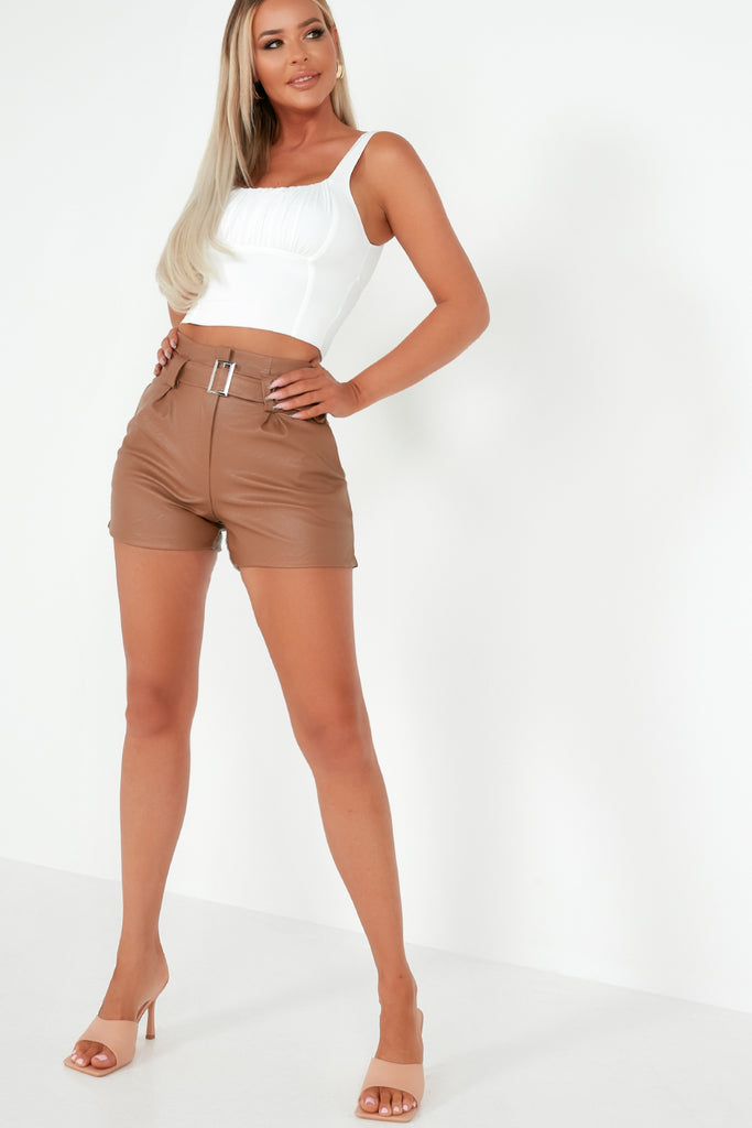 Ruth Tan Leatherette Belted Shorts