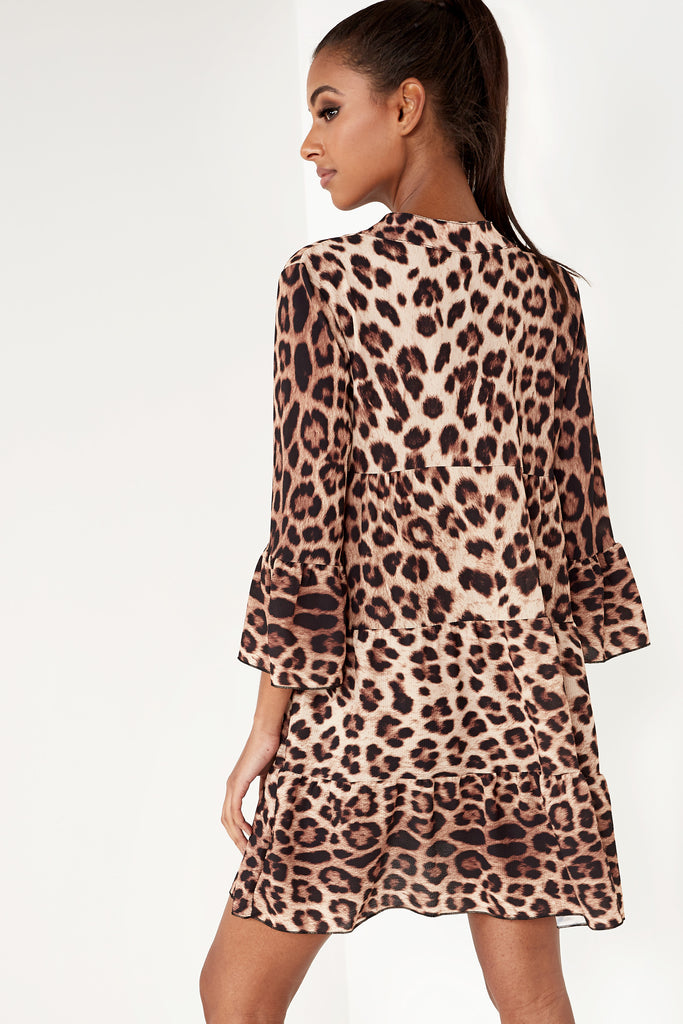 Ryder Brown Leopard Print Tiered Smock Dress