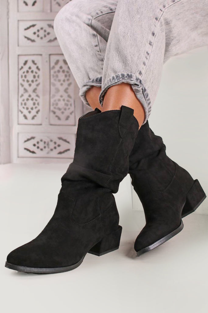 Ryleigh Black Suedette Western Boots