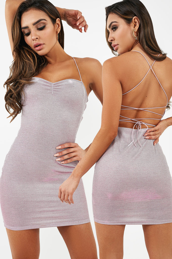 Rylie Pink Glitter Metallic Strappy Mini Dress (4175010332738)