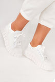 Rylie White Cleated Sole Canvas Trainers