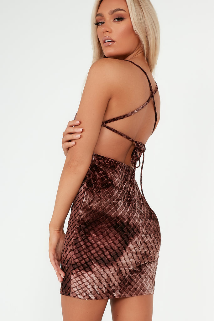 Sacha Chocolate Velvet Lace Up Dress