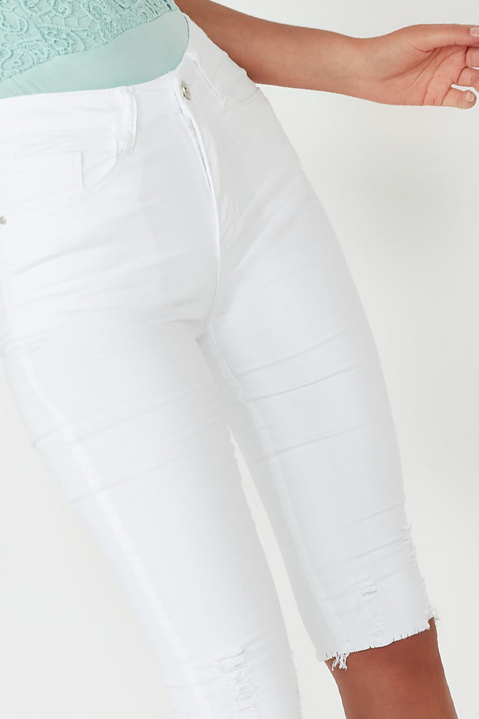 Saffi White Denim Cropped Jeans (1310975787116)