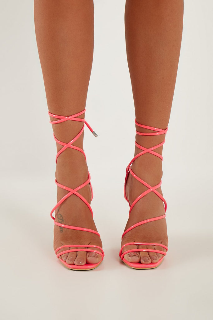 Sal Neon Pink Lace Up Sandals