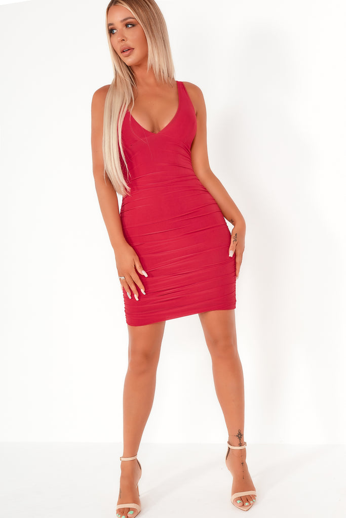 Sallie Red Strappy Bodycon Dress (1983008243778)