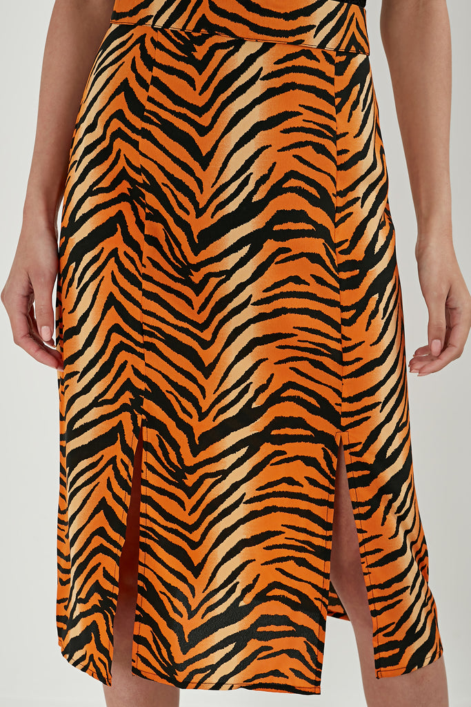 Salma Orange Tiger Print Midi Skirt