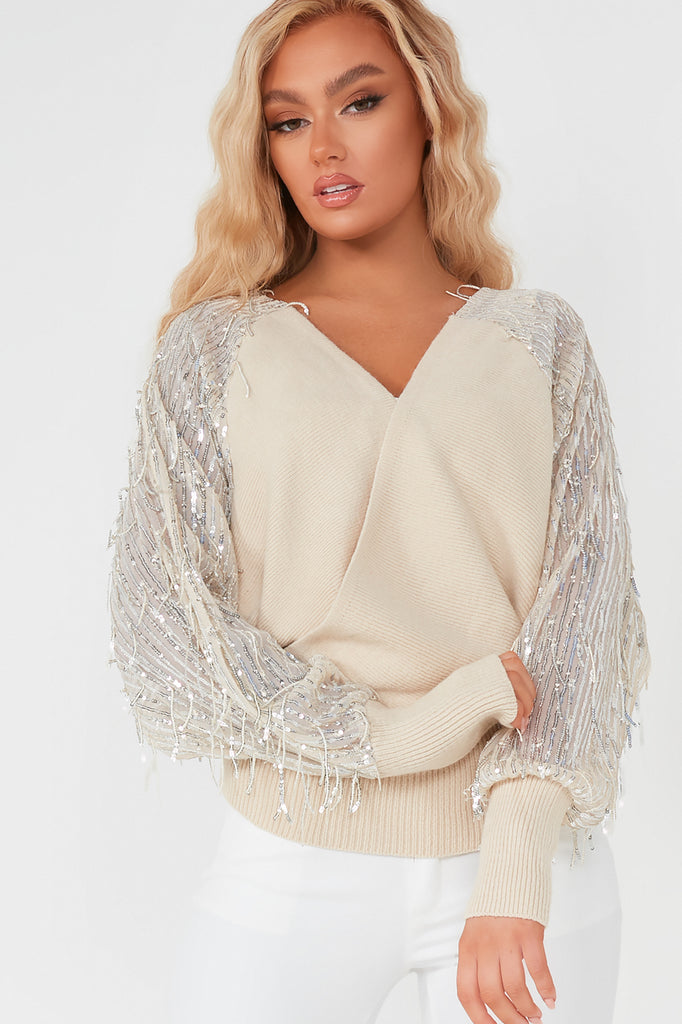Samantha Nude Sequin Batwing Wrap Top