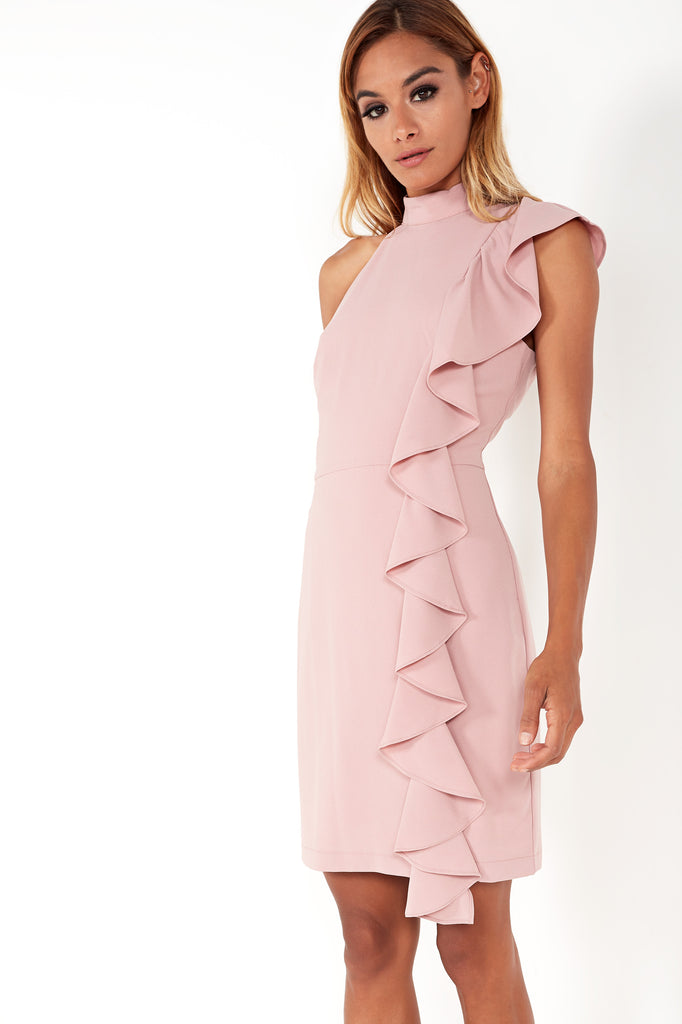 9dc2a1a51cb Samantha Pink High Neck Frill Dress