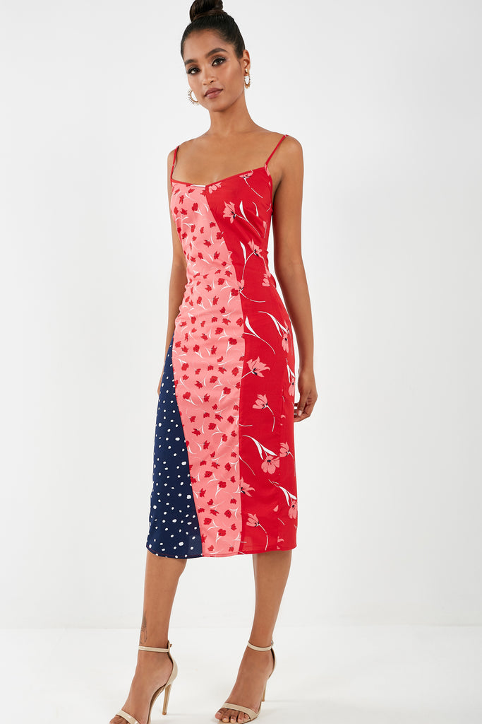 Samia Red Floral Spotted Cami Dress