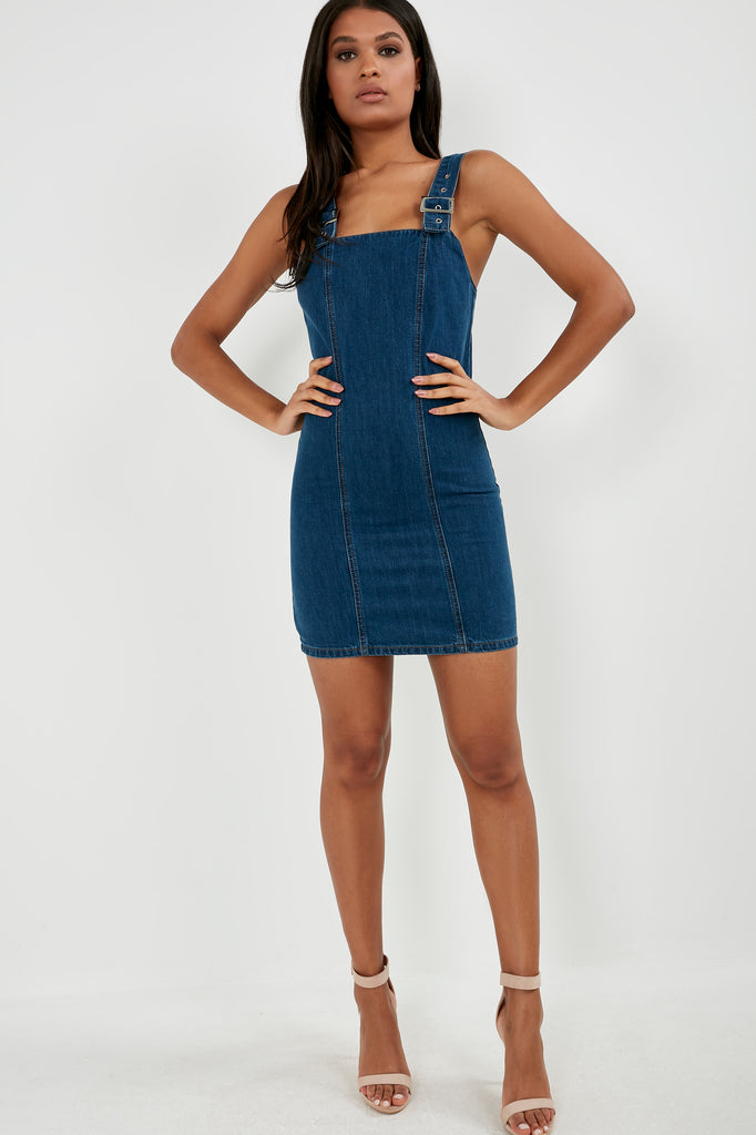 Sandra Dark Denim Pinafore Dress
