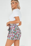 Sandra Purple Floral Wrap Mini Skirt