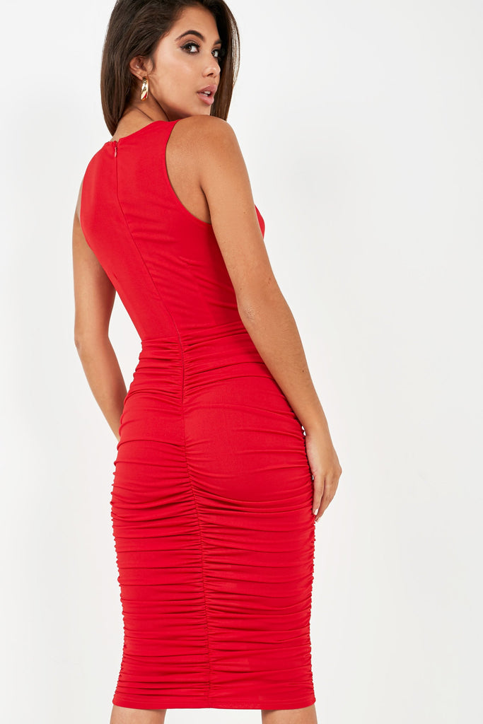 Sandy Red Cowl Neck Ruched Dress (2032530554946)