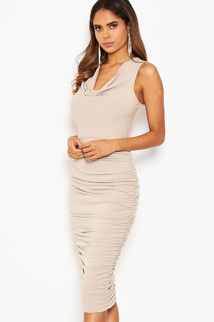 Sandy Silver Cowl Neck Ruched Dress