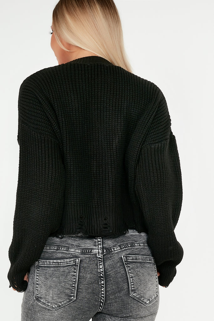 Sara Black Knit Frayed Hem Crop Cardigan