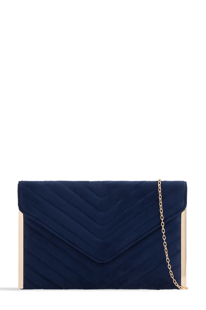 Sara Blue Suede Quilted Bag