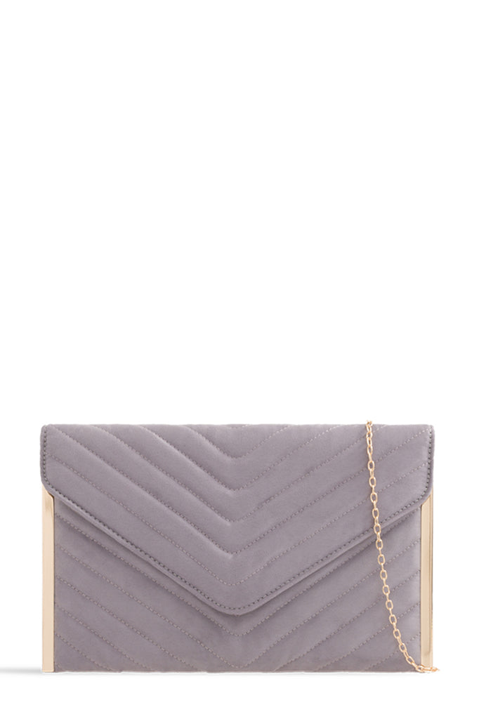 Sara Grey Suede Quilted Bag (1702515114050)