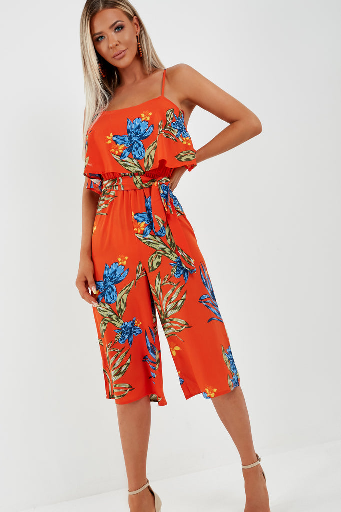 Sarah Jane Orange Floral Cami Jumpsuit (1938045632578)