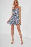 Sarah Jane Purple Floral Tie Strap Frill Dress